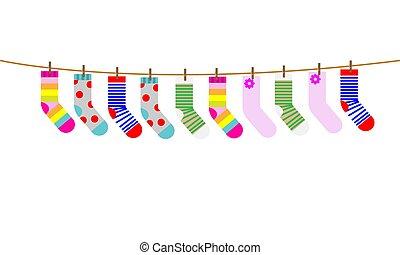 ensemble, illustration., chaussettes, enfants, vecteur, séché, rope.