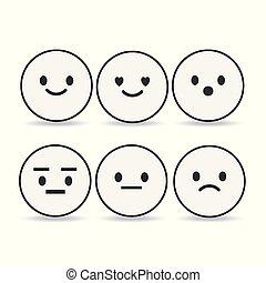 ensemble, illustration., fond, contour, isolé, emoji, blanc, emoticons, vecteur
