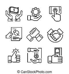 ensemble, illustration, main, vecteur, conception, icône