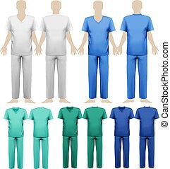 ensemble, illustration., monde médical, overalls., vecteur, conception, template.