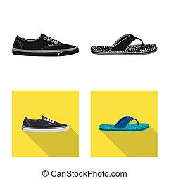 ensemble, illustration., signe., objet, isolé, bitmap, chaussures, pied, chaussure, stockage