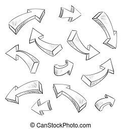 ensemble, illustration, sketchy, vecteur, conception, flèche, éléments, 3d