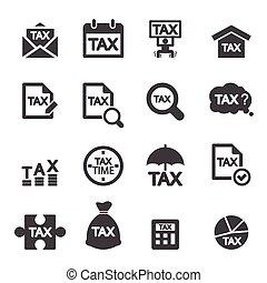 ensemble, impôt, icône
