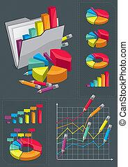 ensemble, infographic, -, diagrammes, coloré