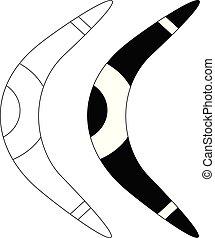 ensemble, isolé, fond, boomerang, blanc, icône