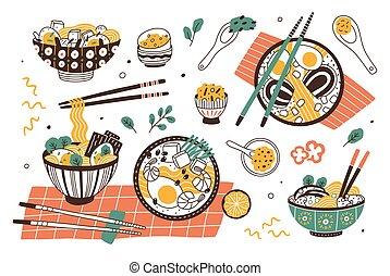 ensemble, japonaise, bols, baguettes., savoureux, asiatique, délicieux, stew., nouilles, plat, broth., coloré, paquet, collection, ramen, dessin animé, illustration., repas, traditionnel, soupe, vecteur, ou