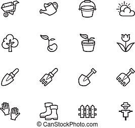 ensemble, jardin, élément, vecteur, arrière-plan noir, blanc, icône