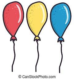 ensemble, jaune rouge, bleu, blanc, balloon, arrière-plan., dessin animé