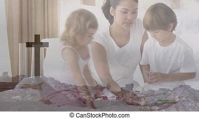 ensemble, jouer, famille, traverser par-dessus, animation, chrétien