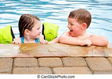 ensemble, jouer, quoique, rire, sourire, enfants, piscine, natation