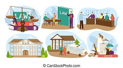 ensemble, justice, droit & loi, procès, illustrations., jury, jugement, maison, justice, juge, tribunal, icons., honnête, conception, vecteur