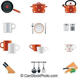 ensemble, kitchenware, icône