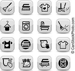 ensemble, lavage, nettoyage, icônes