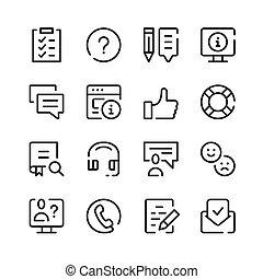 ensemble, ligne, contour, symboles, soutien, client, icons., simple, vecteur