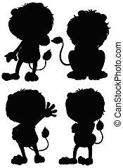 ensemble, lion, silhouette