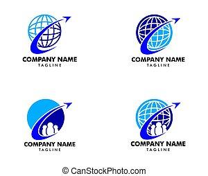 ensemble, logo, élément, agence, conception, voyage, global