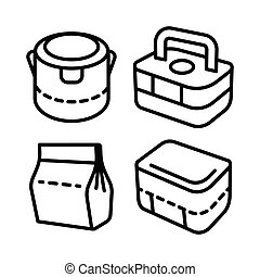 ensemble, lunchbox, contour, 2, icône