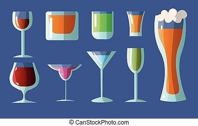 ensemble, lunettes, style., alcoolique, dessin animé, divers, plat, différent, vecteur, drinks., formes, illustration