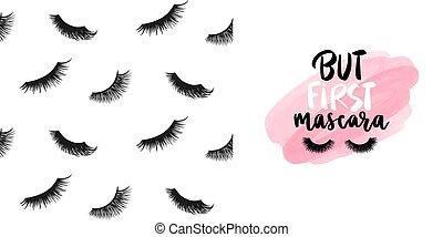 ensemble, mèches, vecteur, citation, mascara, seamless, maquillage, modèle, eyelashes., mode, fermé, mignon, sur