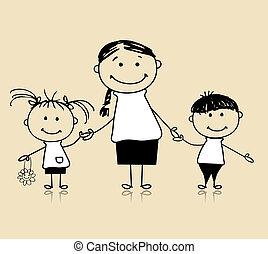 ensemble, mère, dessin, heureux, enfants, famille, sourire, croquis