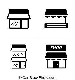 ensemble, magasin, icônes