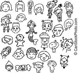 ensemble, main écrite, gosses, caractères, dessiné