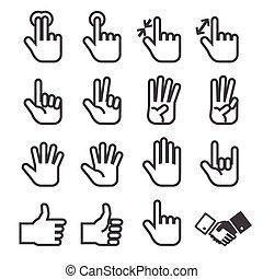 ensemble, main, icône