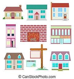 ensemble, maison, collection., maison, coloré, icône
