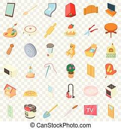 ensemble, maison, style, dessin animé, icônes