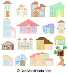 ensemble, maison, style, dessin animé