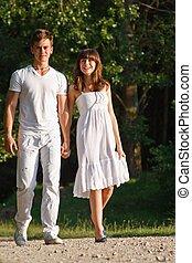 ensemble, marche couples, dehors