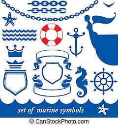 ensemble, marin, éléments