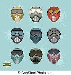 ensemble, masque, paintball, protection