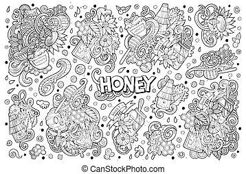 ensemble, miel, thème, éléments, conception, doodles, dessin animé