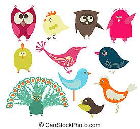 ensemble, mignon, oiseaux