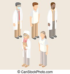 ensemble, monde médical, hommes, illustration, vecteur, ouvriers, femmes