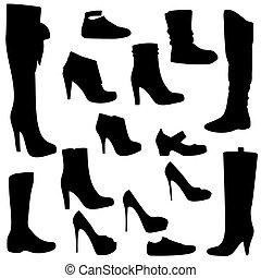 ensemble, noir, chaussures, femmes, isolé