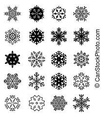 ensemble, noir, flocons neige