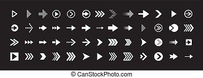 ensemble, noir, ligne, flèche