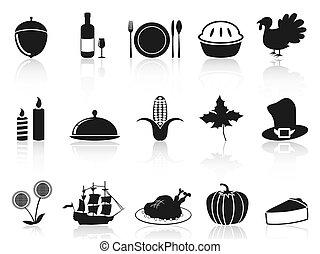 ensemble, noir, thanksgiving, icônes
