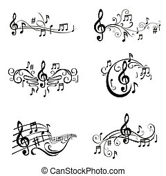 ensemble, notes, -, illustration, vecteur, musical