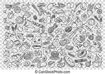 ensemble, nourriture, griffonnage