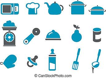 ensemble, nourriture, icône