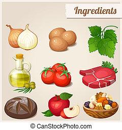 ensemble, nourriture, ingredients., icons.