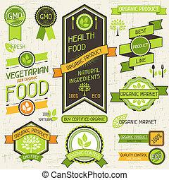 ensemble, nourriture organique, étiquettes, banners., stickers.