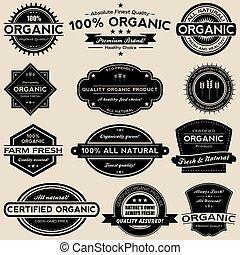 ensemble, nourriture organique, étiquettes, collection, vecteur