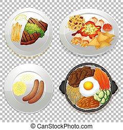 ensemble, nourriture, transparent, fond