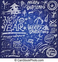ensemble, -, nouveau, fetes, année, doodles, noël