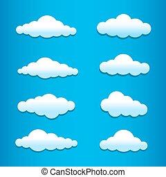 ensemble, nuages, dessin animé