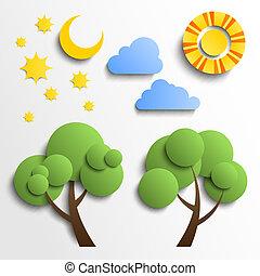 ensemble, nuages, lune, coupure, icons., papier, arbre, étoiles, soleil, design.